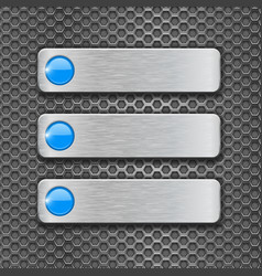 Blank metal plates on perforated background vector