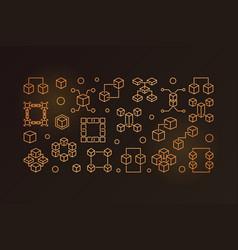blockchain outline golden horizontal vector image