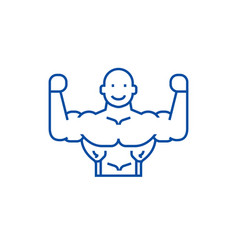 bodybuilder line icon concept bodybuilder flat vector image