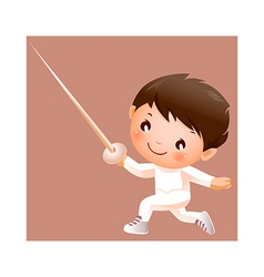 Boy in fencing costume vector