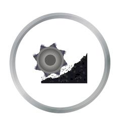 Bucket-wheel excavator icon in cartoon style vector