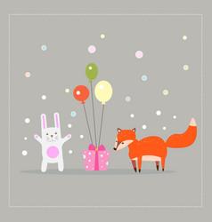 cartoon fun little foxes fox with white rabbit vector image