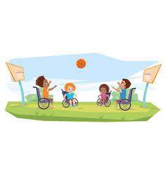 Children with disabilities playing basketball vector