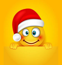 christmas happy cheerful emoticon in santa hat vector image