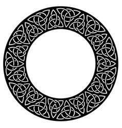 Circular decorative border with celtic pattern vector