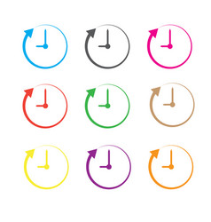 Clock and arrow on white background clock and vector