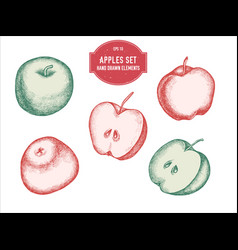 collection of hand drawn pastel apples vector image