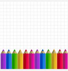 Colour pencils border on copy-book paper vector