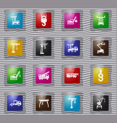 Crane and lifing machines glass icon set vector