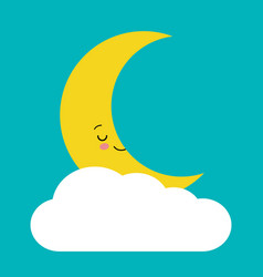 cute crescent moon sleeping and smiling among vector image