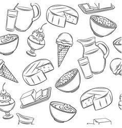 dairy product seamless pattern vector image
