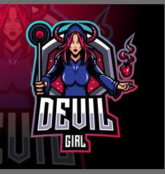 devil girl esport mascot logo design vector image