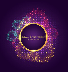 Diwali greeting with colorful fireworks vector