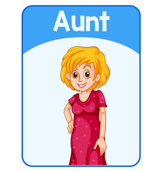 Educational english word card aunt vector