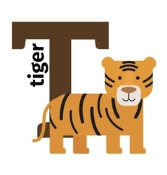 English animals zoo alphabet letter T vector