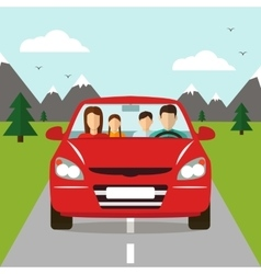 Family trip car vector