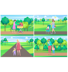 family walking with baand kid in park vector image
