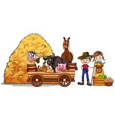 Farmers and farm animals vector