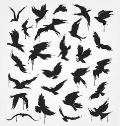 Figures flying birds in grunge style vector