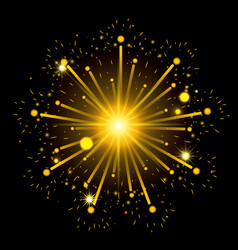 Fireworks bursting in shape star with yellow vector