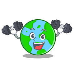 fitness world globe character cartoon vector image