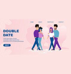 Flat landing page offers double date organization vector