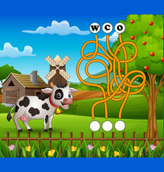 Game cow maze find way to the word vector