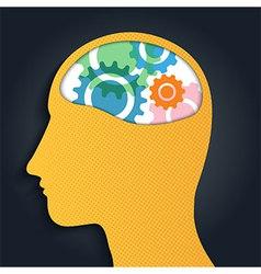 Gear Brain Head Man vector image