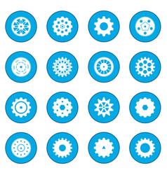 Gear icon blue vector