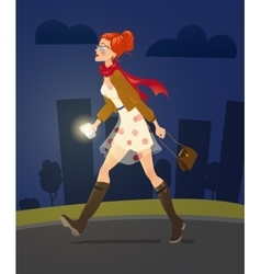 girl with cellphone walking alone at night alley vector image