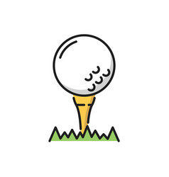 Golf ball on putter in grass isolated flat icon vector
