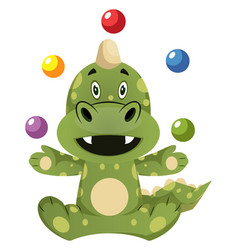Green dragon is juggling on white background vector