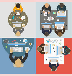 groups of business people working for office desk vector image