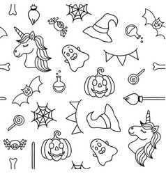 Halloween things and unicorn black outline vector