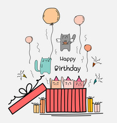 Happy birthday card with cute cat in the big gift vector