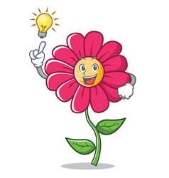 Have an idea pink flower character cartoon vector