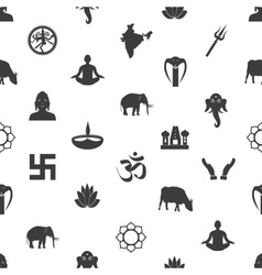 Hinduism religions symbols gray seamless pattern vector