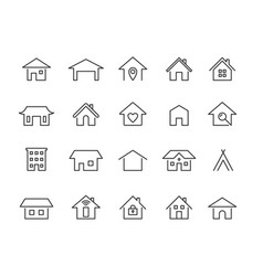 home line icons modern outline houses app vector image