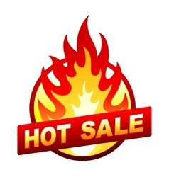 Hot sale fire badge price sticker flame vector image