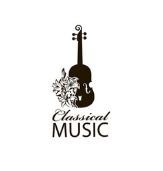 Icon of violin and lily vector