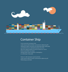 Industrial marine vessel and text vector