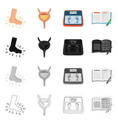 isolated object of diet and treatment logo set of vector image