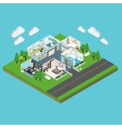 Isometric House On The Plot Of Land vector