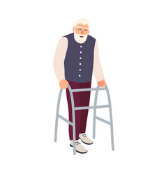 joyful elderly man with walking frame or walker vector image