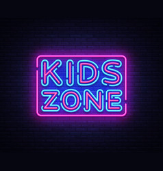 Kids zone neon sign kids zone design vector