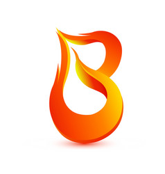 letter b in fire flame icon vector image