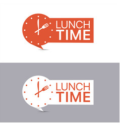 lunch time banners red and white labels vector image