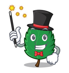magician mint leaves mascot cartoon vector image