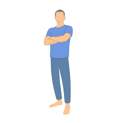 Man with crossed arms on white background vector