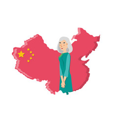 map china with old woman isolated icon vector image